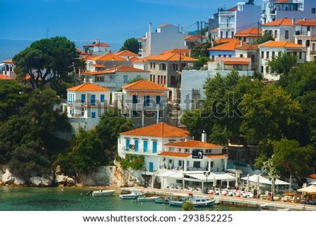 Island skiathos greece. Luxury Island-Skiathos.Greece island.Paradise beach - stock photo