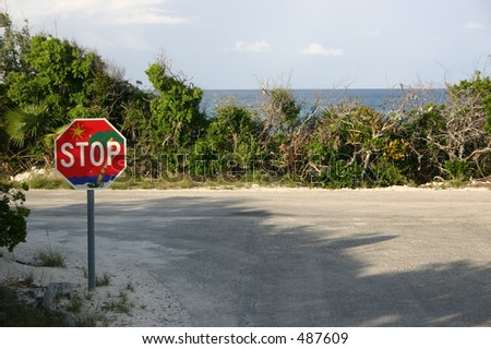 island stop sign