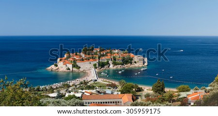 Island Sveti Stefan,view from above. Montenegro - stock photo