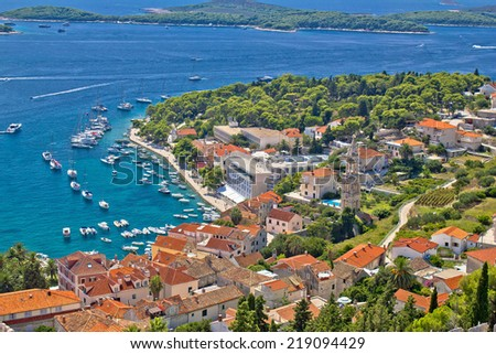 Island town of Hvar aerial harbor view in Dalmatia, Croatia