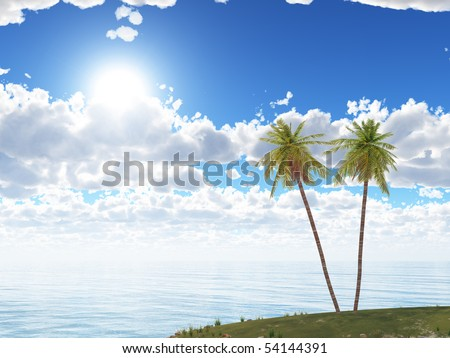 Island. Two palm trees on a background of the sea and the dark blue sky - stock photo