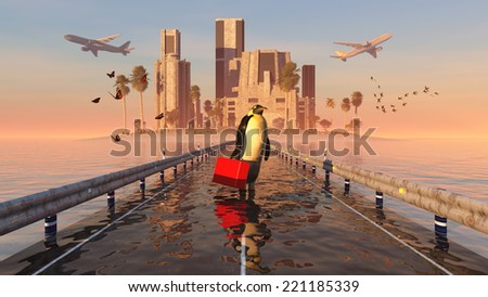 island with buildings, airplanes and penguin - stock photo