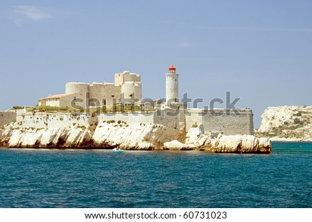 Island with Chateau dIf in front of the Marseilles coast - stock photo