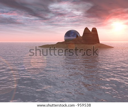 Island with chrome sphere - stock photo