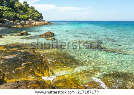 Island with clean and clear water at Perhentian Island, Malaysia