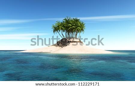 Island with palm tree with Sky Background - stock photo