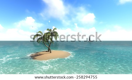 Island with palm trees on the background of the ocean. 1 Raster - stock photo