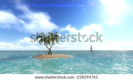 Island with palm trees on the background of the ocean. 4 Raster - stock photo