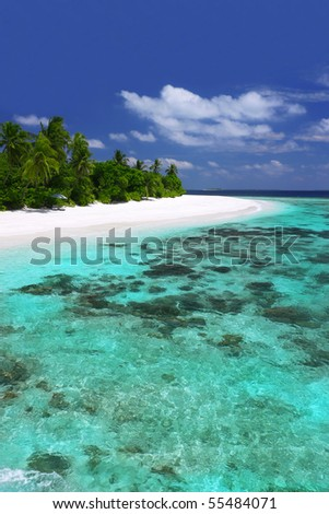 Island with pristine beaches and coral reef - stock photo