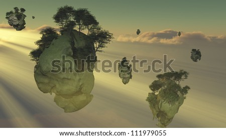 Islands float above the clouds - stock photo
