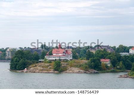 Islands in the Baltic Sea near Helsinki in Finland - stock photo