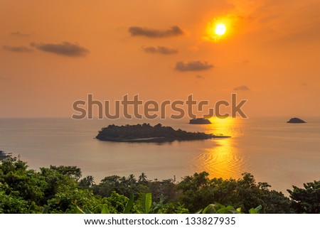 islands in the sunset - stock photo