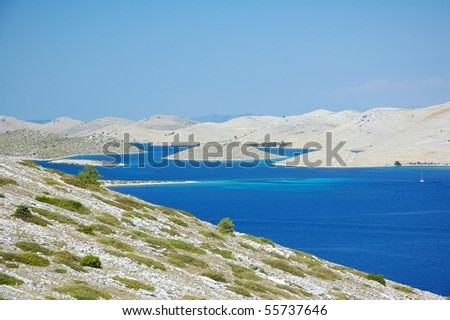 Islands nearby croatian city Sibenik - stock photo