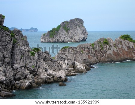 Islands of Halong Bay, Vietnam - stock photo