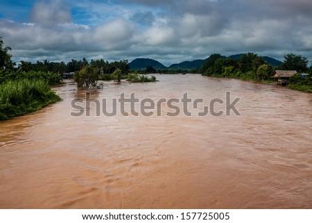 Islands on Mekong river, Laos - stock photo