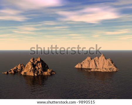 islands, two, water, boat, sunlight, sky, horizon - stock photo