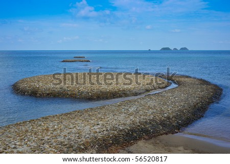 Islands watermark in the sea of the gulf Thailand
