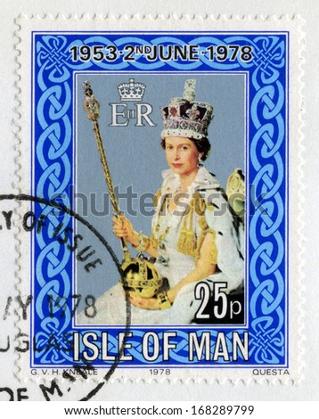 ISLE OF MAN - CIRCA 1978: A used British postage stamp celebrating the 25th Anniversary of the Coronation of Queen Elizabeth II, circa 1978. - stock photo