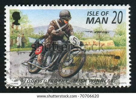 ISLE OF MAN - CIRCA 1996: stamp printed by Isle of Man, shows Motorcycle Races, circa 1996. - stock photo