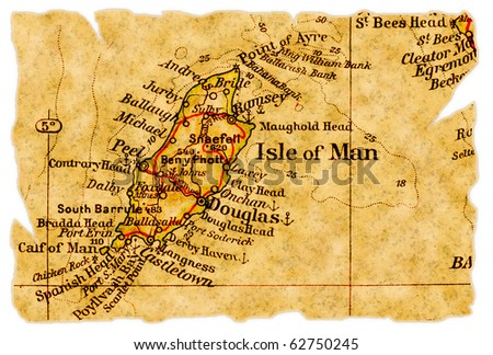 Isle of Man on an old torn map from 1949, isolated. Part of the old map series. - stock photo