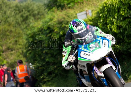 ISLE OF MAN, UK - June 08 2016: riders in the Lightweight TT (Tourist Trophy)