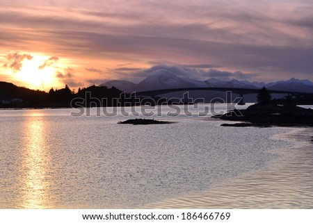 Isle of Skye Bridge, ocean, mountains - stock photo