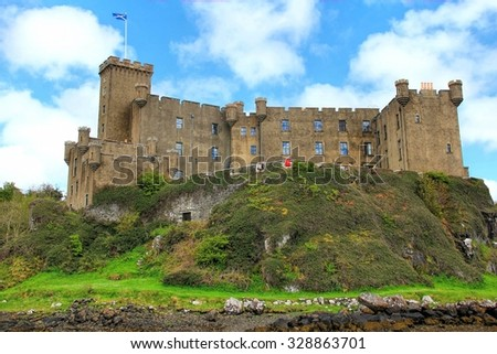 ISLE OF SKYE, SCOTLAND - MAY 28,  2013:  Dunvegan Castle on the isle of Skye, Scotland. - stock photo