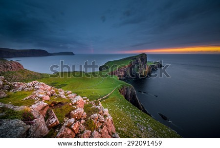Isle of Skye, Scotland. Neist Point during a very cloudy sunset. - stock photo