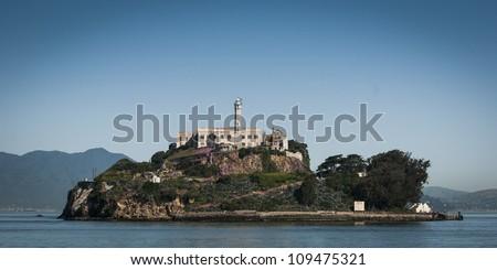 isle of the prison alcatraz at blue sunny summer day - stock photo