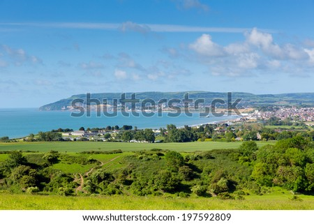 Isle of Wight coast view towards Shanklin and Sandown from Culver Down - stock photo