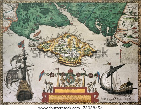 Isle of Wight old map ans southern England. By Baptista Boazio, published in England, 1591. - stock photo