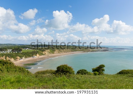 Isle of Wight view to Bembridge and Whitecliff Bay east of the island - stock photo