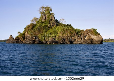 isle river   palm  rock stone branch hill lagoon and coastline in madagascar nosy be nosy faly
