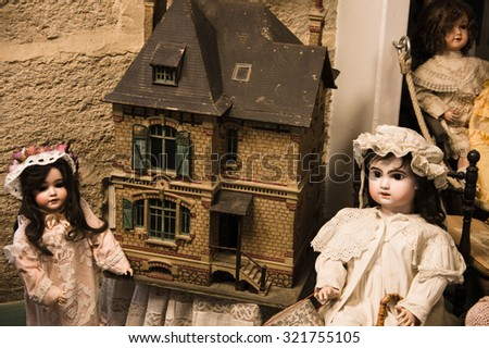 Isle sur la Sorgue, France - September 2015 - Private old dolls collection in a museum. France, 2015