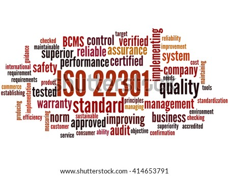 ISO 22301 - Business Continuity Management, word cloud concept on white background.