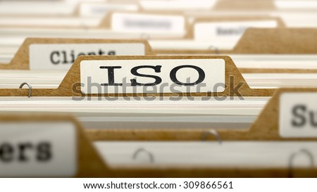 ISO - International Organization Standardization- Concept. Word on Folder Register of Card Index. Selective Focus. - stock photo