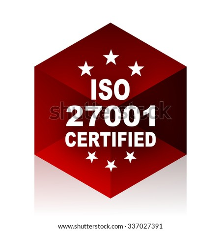 iso 27001 red cube 3d modern design icon on white background