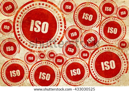 iso, red stamp on a grunge paper texture - stock photo