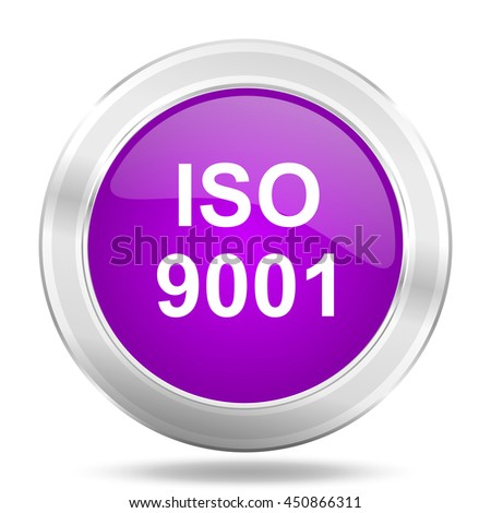 iso 9001 round glossy pink silver metallic icon, modern design web element - stock photo