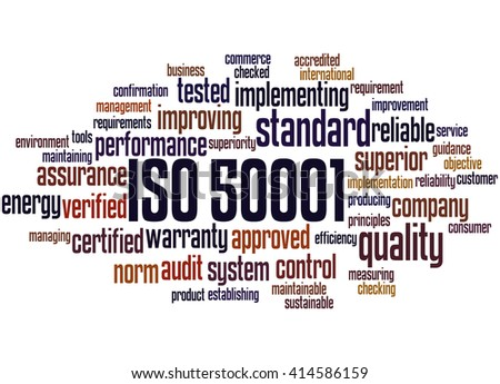 ISO 50001, word cloud concept on white background.