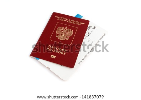 Isoalted Russian passport with boarding pass with clipping path - stock photo