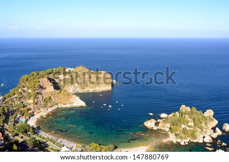 Isola Bella is a small island near Taormina, Sicily, southern Italy. Also known as The Pearl of the Ionian Sea it was a private property until 1990. - stock photo