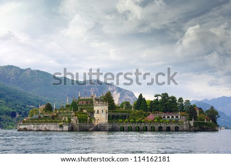 Isola Bella , one of Borromean island in Lake Maggiore in Italy - stock photo