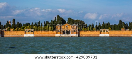 Isola di San Michele, the cemetery for Venice, Italy, panorama