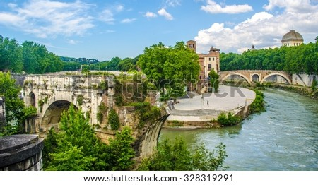 isola tiberina is the biggest island of tibera river in rome. This small island is attractive touristic spot on the way to trastevere district.