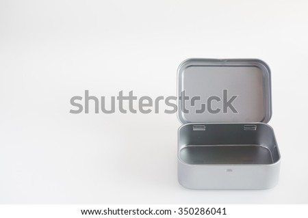 isolate aluminum box for new year gift. - stock photo