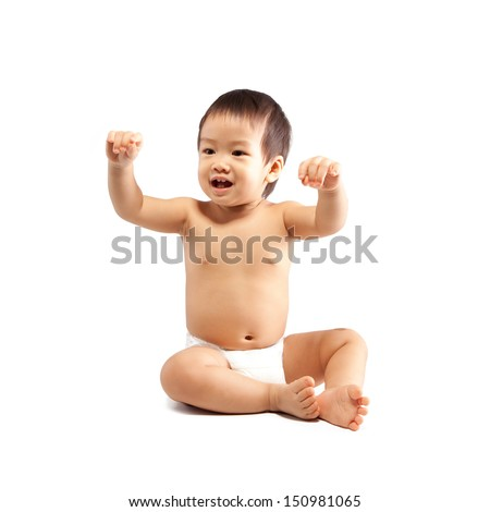 isolate asian baby sitting  on white background