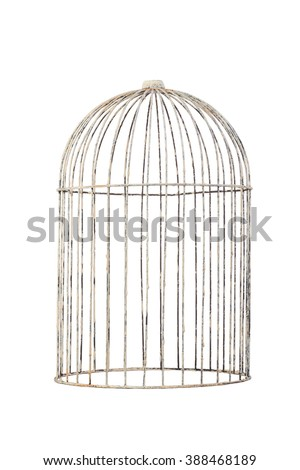 isolate bird cage rustic vintage style on white background - stock photo
