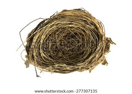 isolate bird nest on white background - stock photo