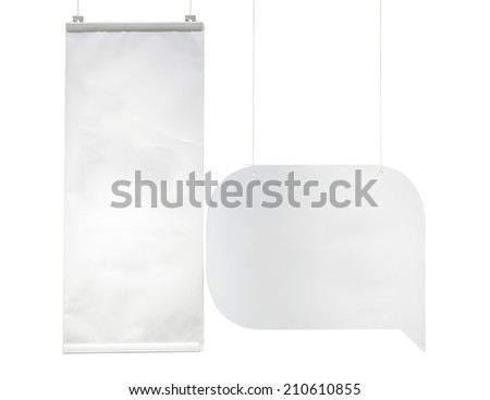 isolate blank advertising flags on white background with clipping path - stock photo